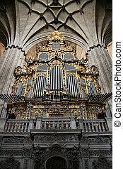 Organ in Salamanca cathedral in Spain. Beautiful old church interior.