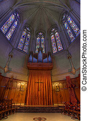 Pipe Organ Stained Glass Altar at Grace Cathedral - Pipe...