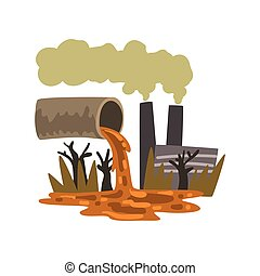 Pipe pouring out industrial waste, ecological disaster, environmental pollution concept, vector Illustration on a white background