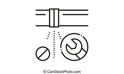 Pipe Punch Fix Icon Animation. black Pipe Punch Fix animated icon on white background