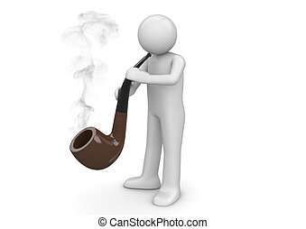 Pipe smoker - 3d isolated on white background characters ...