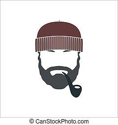pipe., tabaco, retrato, barbudo, viejo, marinero