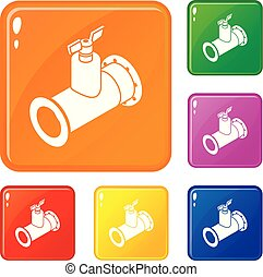 Pipe tap icons set vector color - Pipe tap icons set...