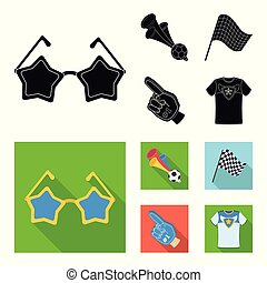 Pipe, uniform and other attributes of the fans.Fans set collection icons in black, flat style vector symbol stock illustration web.