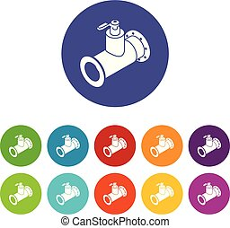 Pipe water icons set vector color