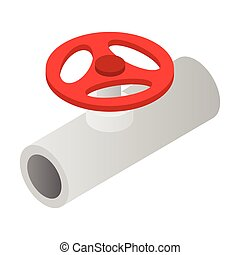 Pipe with a red valve isometric 3d icon