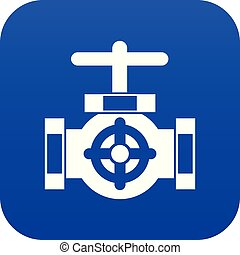 Pipe with a valves icon digital blue