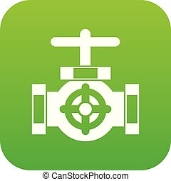 Pipe with a valves icon digital green