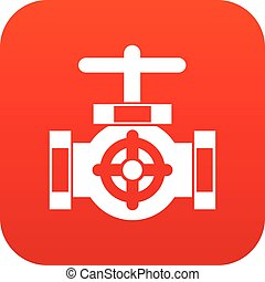Pipe with a valves icon digital red