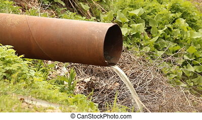 Pipe with flowing water