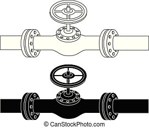Pipe with valve drawing