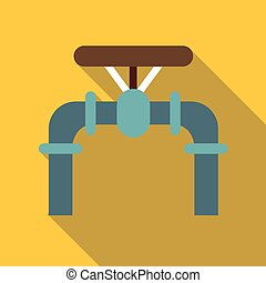 Pipe with valves icon, flat style