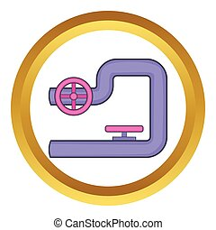Pipe with valves vector icon