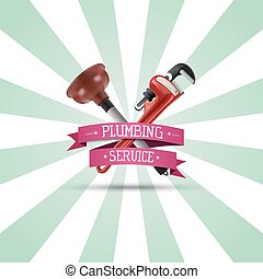 Pipe wrench and plunger on sunburst background