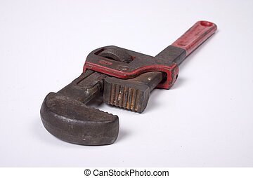 Pipe Wrench on white