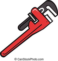 Pipe Wrench Retro - Illustration of a pipe wrench set on ...