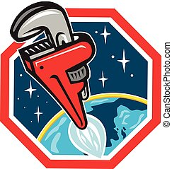 Pipe Wrench Rocket Booster Blasting Off Hexagon Retro -...