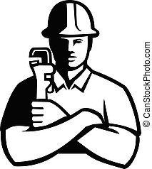 Pipefitter Holding Pipe Wrench Arms Folded Front View Black and White