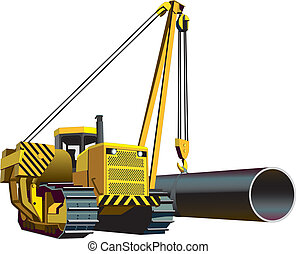 Pipelayer - Vectorial image of yellow pipelayer isolated on...