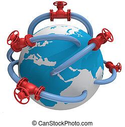 3D rendered pipeline with globe on white