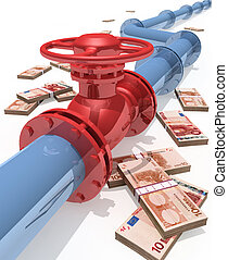 Pipeline - 3D rendered pipeline with money