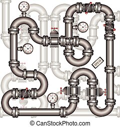 pipeline background - Illustration of a metallic pipeline...