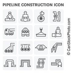 Pipeline construction - pipeline construction vector icon ...