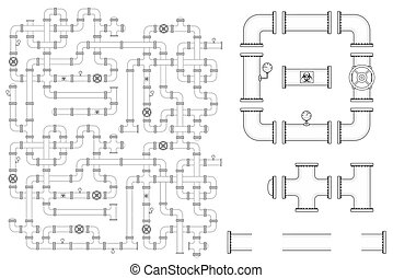Pipeline Construction. Vector kit include pipe parts, caps, valves, curve elbows and manometers