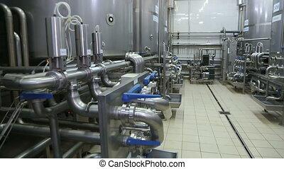 pipeline, dans, a, moderne, laitage, factory.