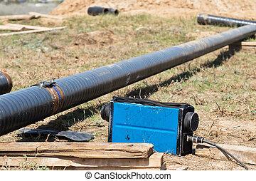 pipeline, descente, tranchée, champ, sous, inspection, rayon...