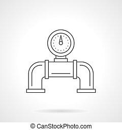 Pipeline gauge flat line vector icon