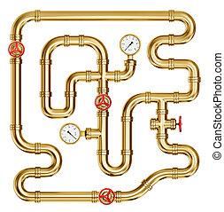 pipeline - golden pipe with valve on white. 3d illustration