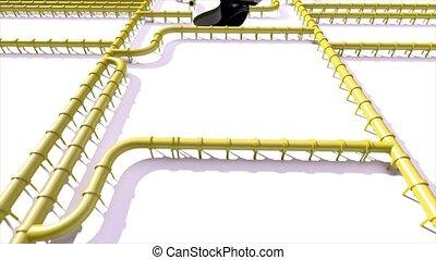 pipeline, huile, empreinte, climat, jaune, tuyau, caractères pied, carbone, ligne, changement
