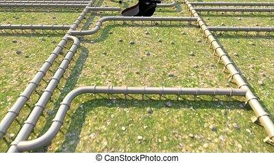 pipeline, huile, empreinte, climat, tuyau, caractères pied, carbone, ligne, changement