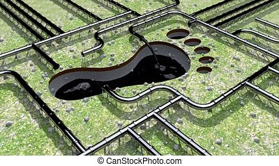 pipeline, huile, empreinte, climat, tuyau, pied, 4k, impression, carbone, ligne, changement