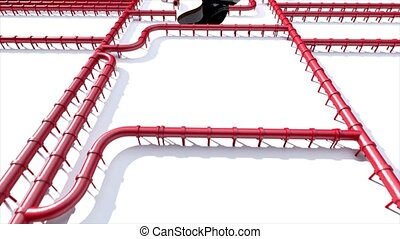 pipeline, huile, empreinte, climat, tuyau, pied, rouges, impression, carbone, ligne, changement
