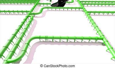 pipeline, huile, empreinte, climat, tuyau, pied, vert, 4k, impression, carbone, ligne, changement