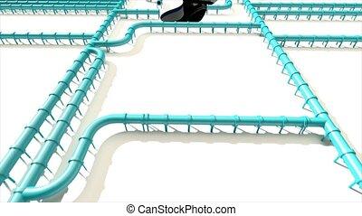 pipeline, huile, empreinte, eau, climat, tuyau, caractères pied, carbone, ligne, changement