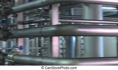 Pipeline in the workshop of a modern factory.