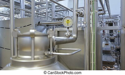 Pipeline in the workshop of a modern factory. - Production...