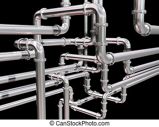 Pipeline maze - Illustration of a maze of industrial pipes