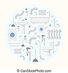 Pipeline plumbing and heating reparation service flat icons round background