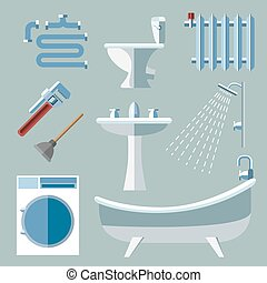 Pipeline plumbing icons in flat style