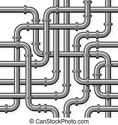 Pipeline realistic vector seamless pattern in flat style. Intertwining steel pipes on a white background