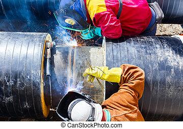 pipeline., saldatori, lavorativo