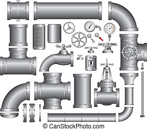 Pipeline Set - Vector Collection of detailed Construction...