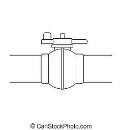 Pipeline shutter. Oil single icon in outline style vector symbol stock illustration web.