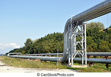 Pipeline - The long pipeline on a background of the blue sky