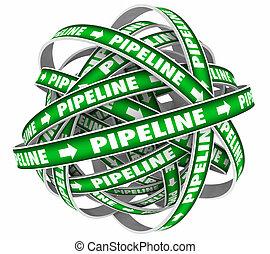 pipeline, ventes, entonnoir, illustration, système, cycle, procédure, 3d