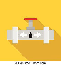 Pipeline with a valve icon, flat style